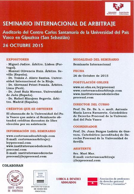 I seminario internacional de arbitraje en la universidad for Universidad cocina pais vasco